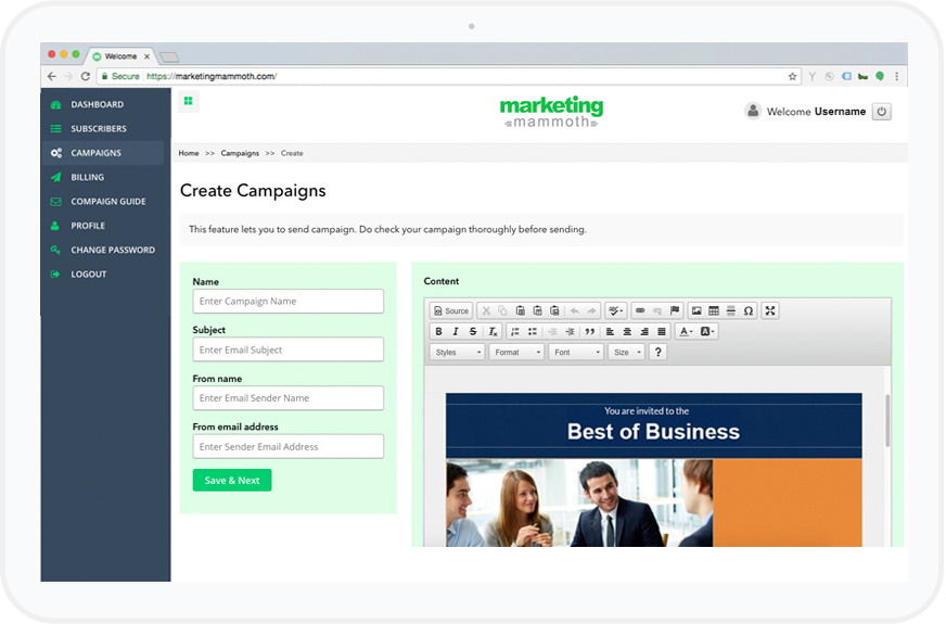 Create Campaign or Use Your Own HTML Emailer